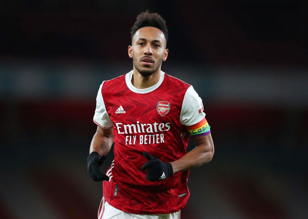 LONDON, ENGLAND - DECEMBER 13: Pierre-Emerick Aubameyang of Arsenal during the Premier League match between Arsenal and Burnley at Emirates Stadium on December 13, 2020 in London, England. A limited number of spectators (2000) are welcomed back to stadiums to watch elite football across England. This was following easing of restrictions on spectators in tiers one and two areas only. (Photo by Catherine Ivill/Getty Images )