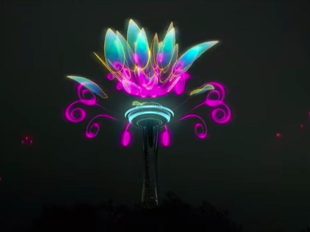 Spektakuler! Kerennya Pertunjukan Kembang Api Virtual di Space Needle