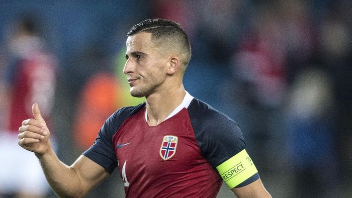 OSLO, NORWAY - OCTOBER 13: Omar Elabdellaoui of Norway during the UEFA Nations League C group three match between Norway and Slovenia at Ullevaal Stadion on October 13, 2018 in Oslo, Norway. (Photo by Trond Tandberg/Getty Images)