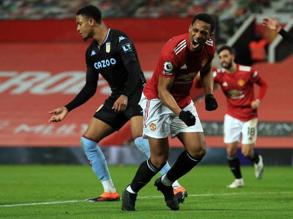 Hore! Anthony Martial Pecah Telur Gol ke Gawang Aston Villa