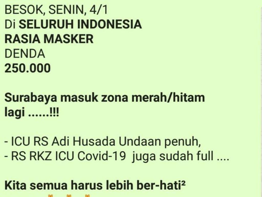 Beredar Pesan Hoaks Razia Masker Denda Rp 250 Ribu dan Surabaya Zona Hitam