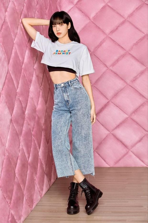 wide leg uneven hem jeans with crop tee