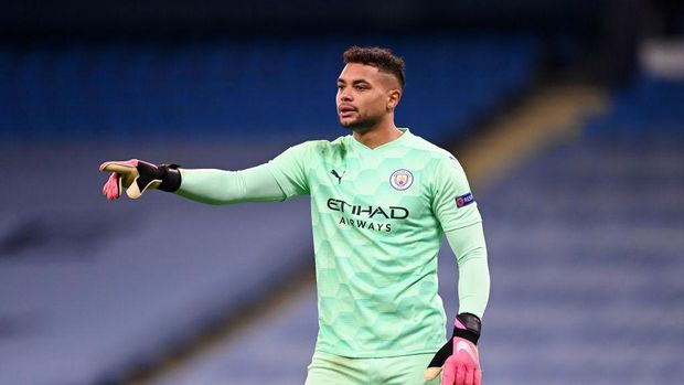 MANCHESTER, ENGLAND - DECEMBER 09: Zack Steffen of Manchester City looks on during the UEFA Champions League Group C stage match between Manchester City and Olympique de Marseille at Etihad Stadium on December 09, 2020 in Manchester, England. (Photo by Laurence Griffiths/Getty Images)