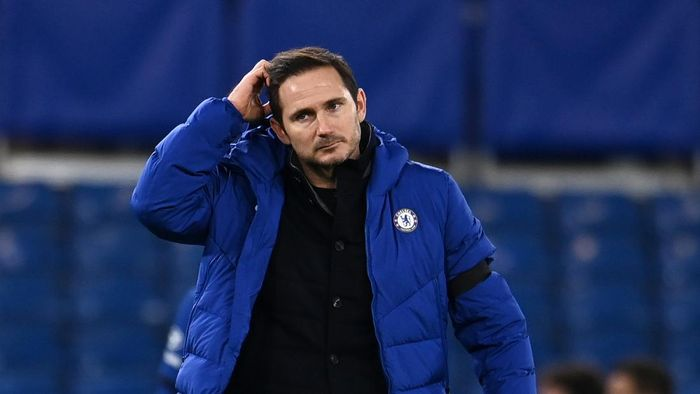 LONDON, ENGLAND - JANUARY 03: Frank Lampard, Manager of Chelsea reacts following the Premier League match between Chelsea and Manchester City at Stamford Bridge on January 03, 2021 in London, England. The match will be played without fans, behind closed doors as a Covid-19 precaution. (Photo by Andy Rain - Pool/Getty Images)