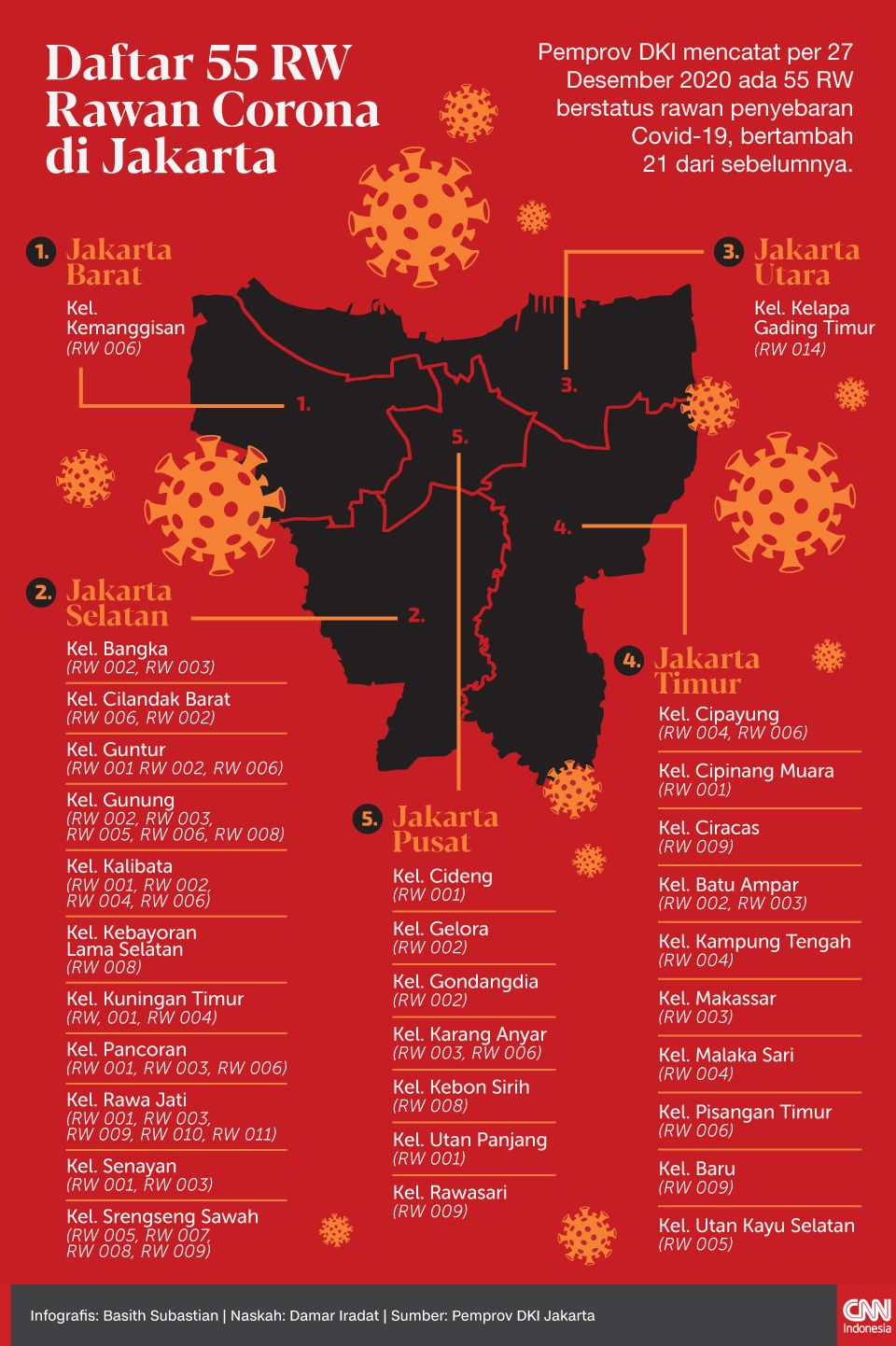 Infografis Daftar 55 RW Rawan Corona di Jakarta