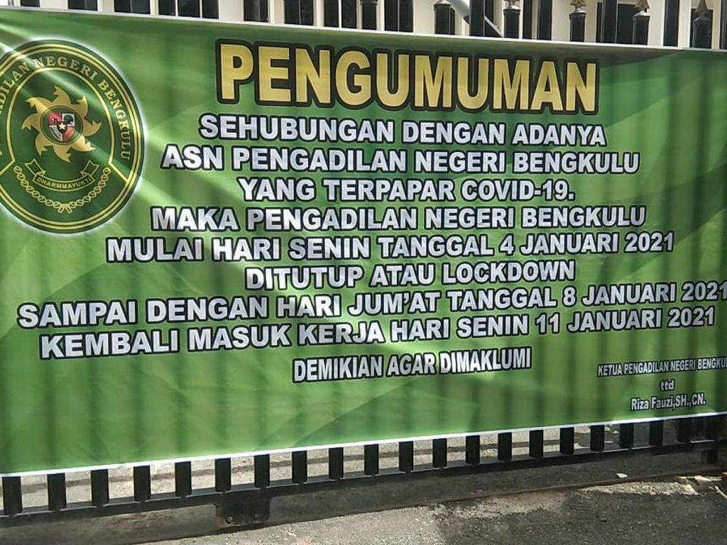 Pegawai Positif COVID-19, PN Bengkulu Tutup Sementara Mulai Hari Ini