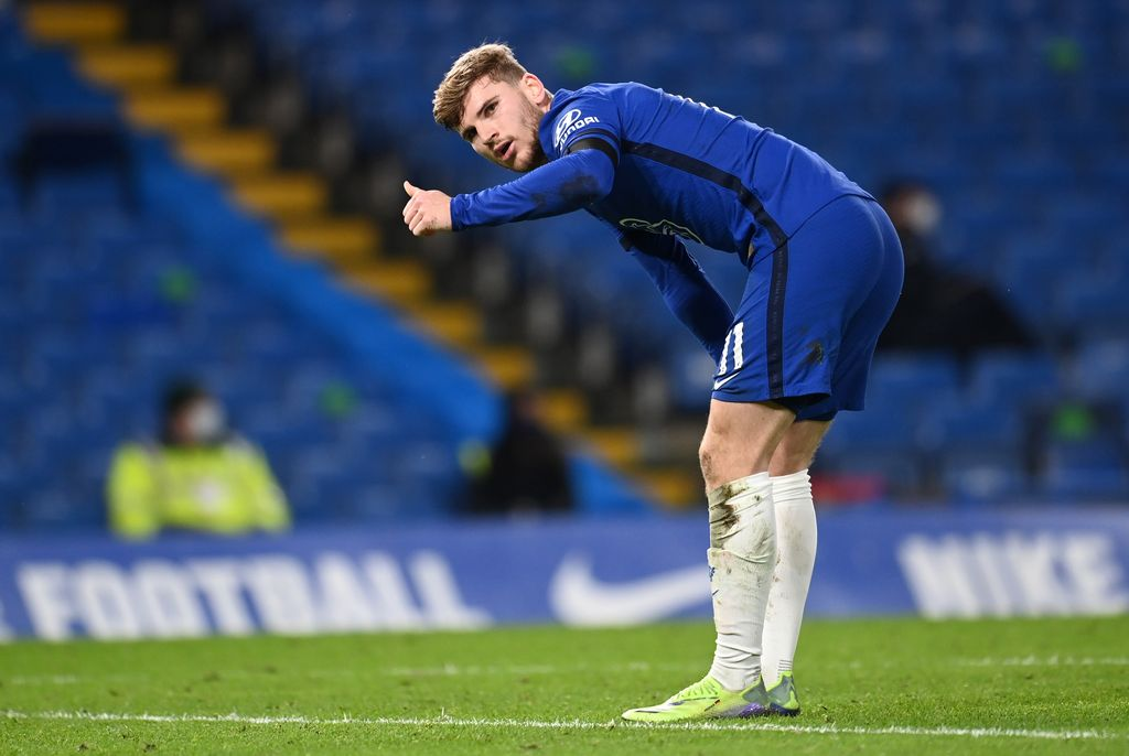 LONDON, ENGLAND - JANUARY 03: Timo Werner of Chelsea looks on as he gestures during the Premier League match between Chelsea and Manchester City at Stamford Bridge on January 03, 2021 in London, England. The match will be played without fans, behind closed doors as a Covid-19 precaution. (Photo by Andy Rain - Pool/Getty Images)