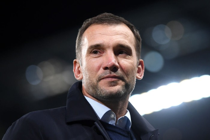 MANCHESTER, ENGLAND - NOVEMBER 26: Andriy Schevchenko, Manager of Ukraine looks on prior to the UEFA Champions League group C match between Manchester City and Shakhtar Donetsk at Etihad Stadium on November 26, 2019 in Manchester, United Kingdom. (Photo by Laurence Griffiths/Getty Images)