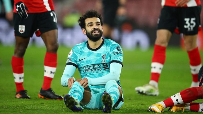 SOUTHAMPTON, ENGLAND - JANUARY 04: Mohamed Salah of Liverpool reacts during the Premier League match between Southampton and Liverpool at St Marys Stadium on January 04, 2021 in Southampton, England. The match will be played without fans, behind closed doors as a Covid-19 precaution. (Photo by Michael Steele/Getty Images)