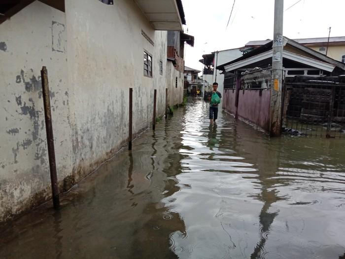 Banjir di Gang Merdeka, Medan Maimun (Ahmad Arfah-detikcom)
