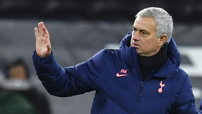Tottenhams manager Jose Mourinho gestures as his team won the EFL Cup semi-final soccer match between Tottenham Hotspur and Brentford at Tottenham Hotspur Stadium in London, England, Tuesday, Jan. 5, 2021. (Glyn Kirk/Pool via AP)