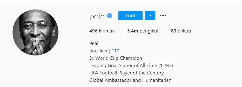 Tangkapan layar biodata Instagram Pele yang mengklaim dirinya masih berstatus pencetak gol terbanyak sepanjang sejarah.