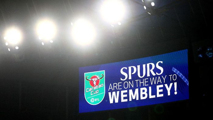 LONDON, ENGLAND - JANUARY 05: A screen inside the stadium  displays a message as Tottenham Hotspur advance to Wembley for the Final after victory during the Carabao Cup Semi Final between Tottenham Hotspur and Brentford at Tottenham Hotspur Stadium on January 05, 2021 in London, England. (Photo by Clive Rose/Getty Images)