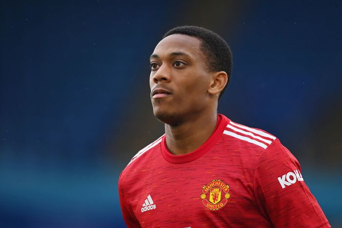 LEICESTER, ENGLAND - DECEMBER 26: Anthony Martial of Manchester United in action during the Premier League match between Leicester City and Manchester United at The King Power Stadium on December 26, 2020 in Leicester, England. The match will be played without fans, behind closed doors as a Covid-19 precaution. (Photo by Michael Regan/Getty Images)