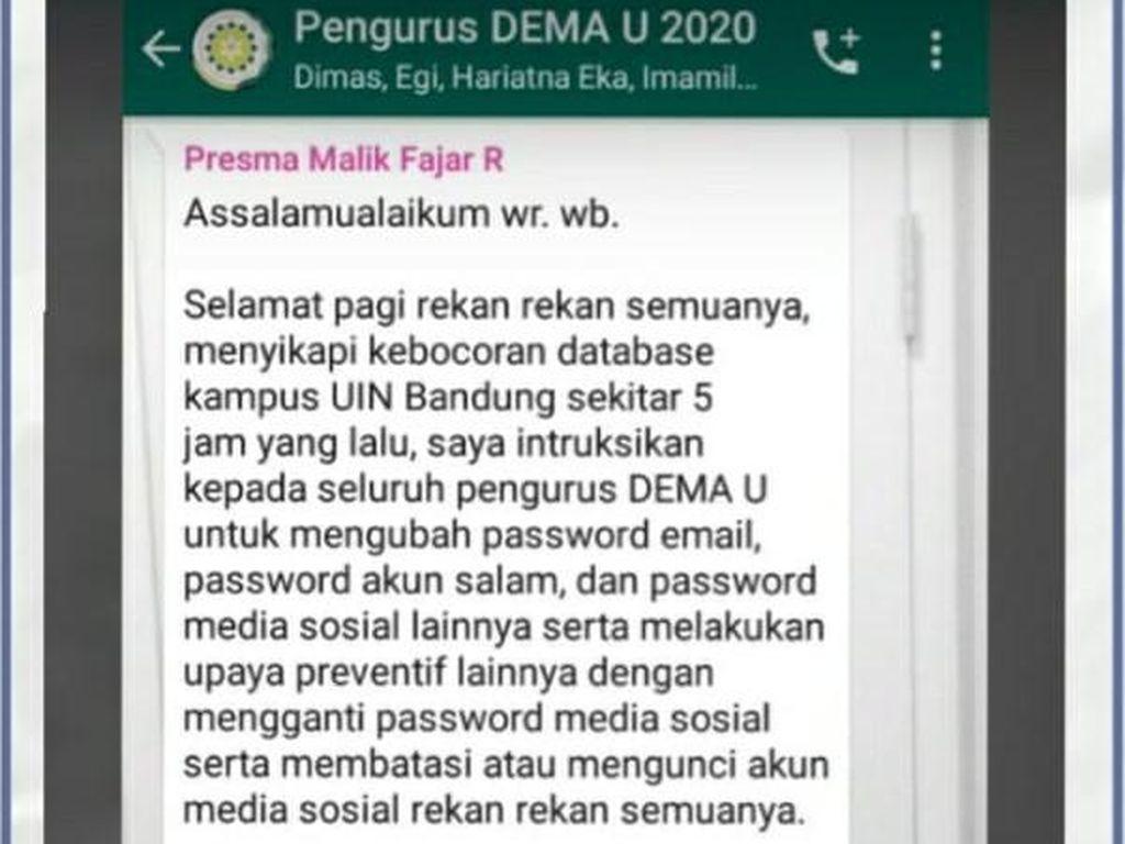 Geger Data Mahasiswa UIN Bandung Bocor yang Dibantah Pihak Kampus