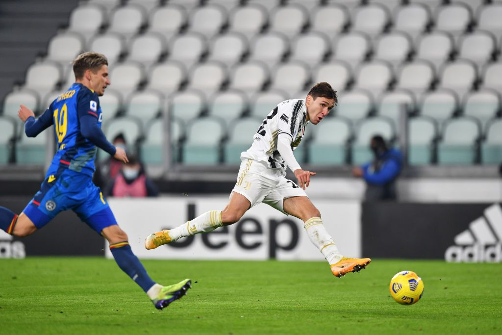 MILAN, ITALY - JANUARY 06: Federico Chiesa of Juventus F.C. celebrates after scoring their team's second goal during the Serie A match between AC Milan and Juventus at Stadio Giuseppe Meazza on January 06, 2021 in Milan, Italy. Sporting stadiums around Italy remain under strict restrictions due to the Coronavirus Pandemic as Government social distancing laws prohibit fans inside venues resulting in games being played behind closed doors. (Photo by Marco Luzzani/Getty Images)
