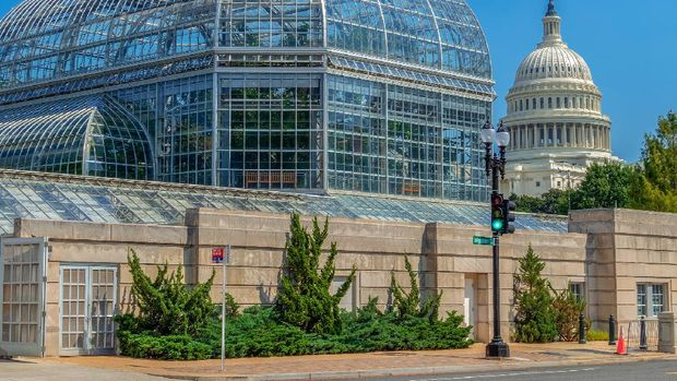 Washington DC: The United States Botanic Garden Conservatory, one of the oldest botanic gardens in North America and the Capitol building in background. Independence Avenue.