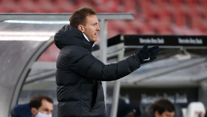 STUTTGART, GERMANY - JANUARY 02: Julian Nagelsmann, Head Coach of RB Leipzig gestures during the Bundesliga match between VfB Stuttgart and RB Leipzig at Mercedes-Benz Arena on January 02, 2021 in Stuttgart, Germany. Sporting stadiums around Germany remain under strict restrictions due to the Coronavirus Pandemic as Government social distancing laws prohibit fans inside venues resulting in games being played behind closed doors. (Photo by Matthias Hangst/Getty Images)