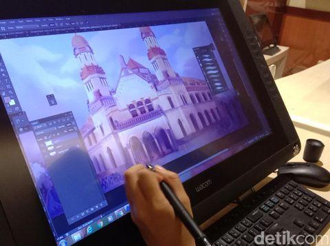 Proses pembuatan film animasi di SMK RUS Kudus, Selasa (5/1/2021).