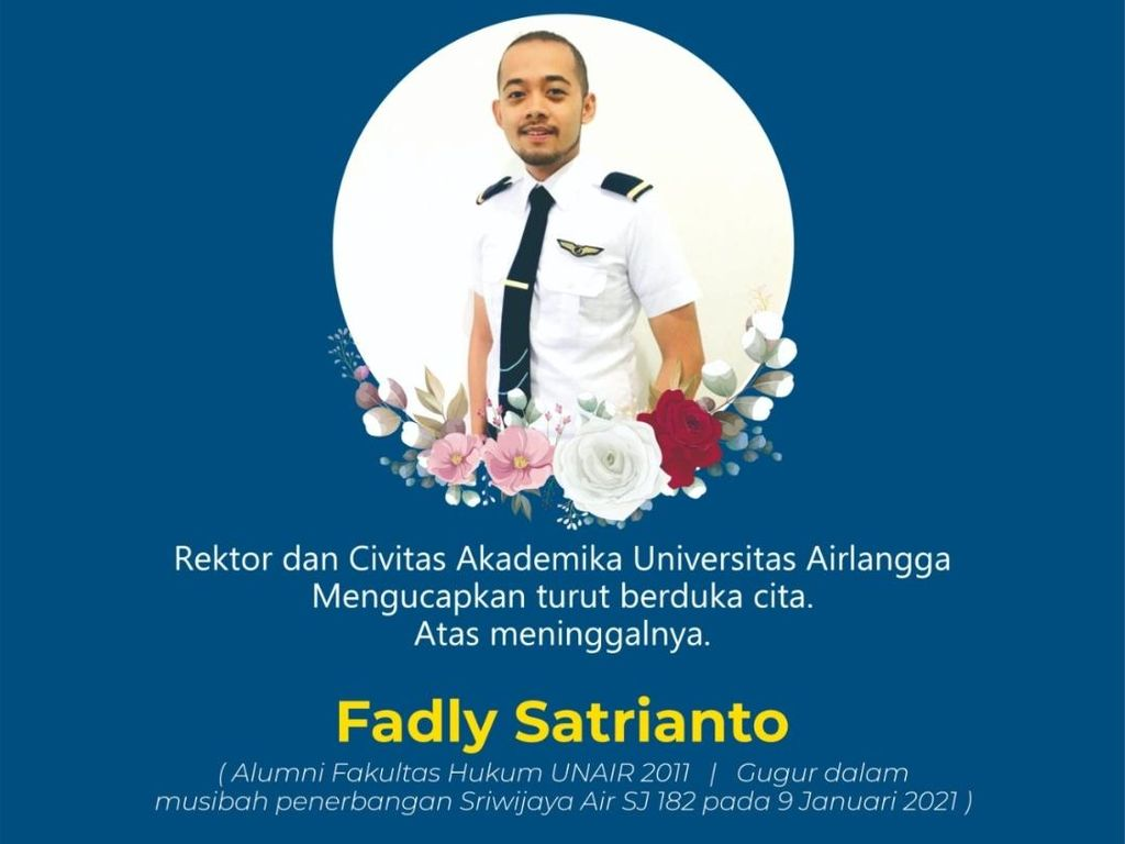 Kru Sriwijaya Air SJ182 Fadly Satrianto Alumnus Unair, Civitas Berdukacita