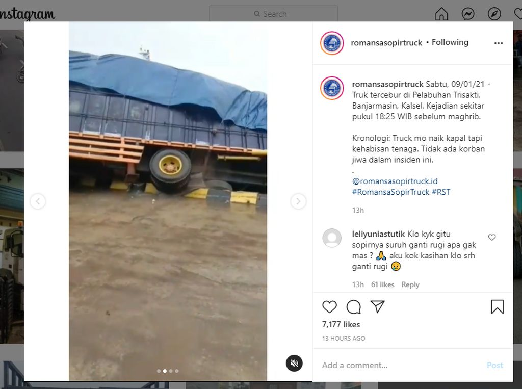 Ngeri, Detik-detik Truk Nyebur ke Laut Setelah Gagal Masuk Kapal