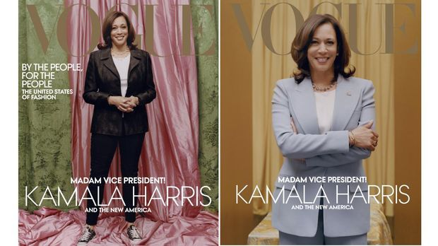 Foto Combo Wakil Presiden Amerika Serikat terpilih Kamala Harris tampil di sampul majalah Vogue.