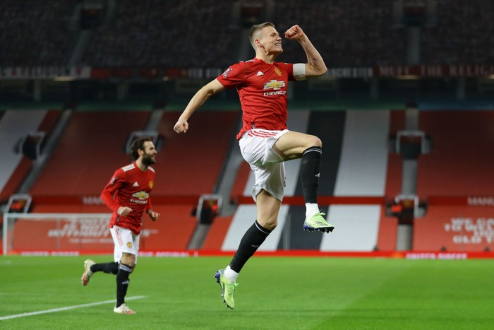MANCHESTER, ENGLAND - JANUARY 09: Scott McTominay of Manchester United celebrates after scoring their teams first goal during the FA Cup Third Round match between Manchester United and Watford at Old Trafford on January 09, 2021 in Manchester, England. The match will be played without fans, behind closed doors as a Covid-19 precaution. (Photo by Richard Heathcote/Getty Images)