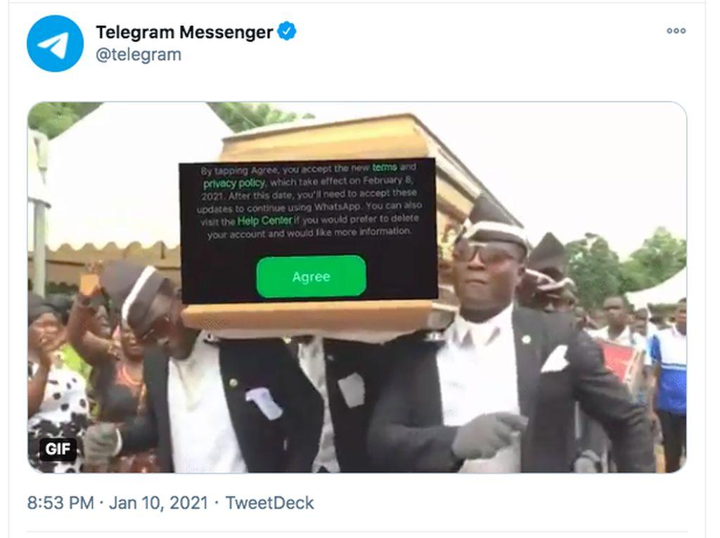 Ngeri, Telegram Pajang Meme Peti Mati WhatsApp