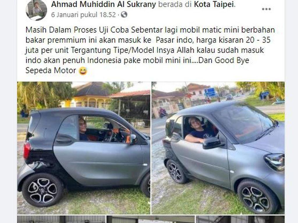 Viral Mobil Imut Bakal Dijual di Indonesia, Harganya Setara Honda Vario, Benarkah?