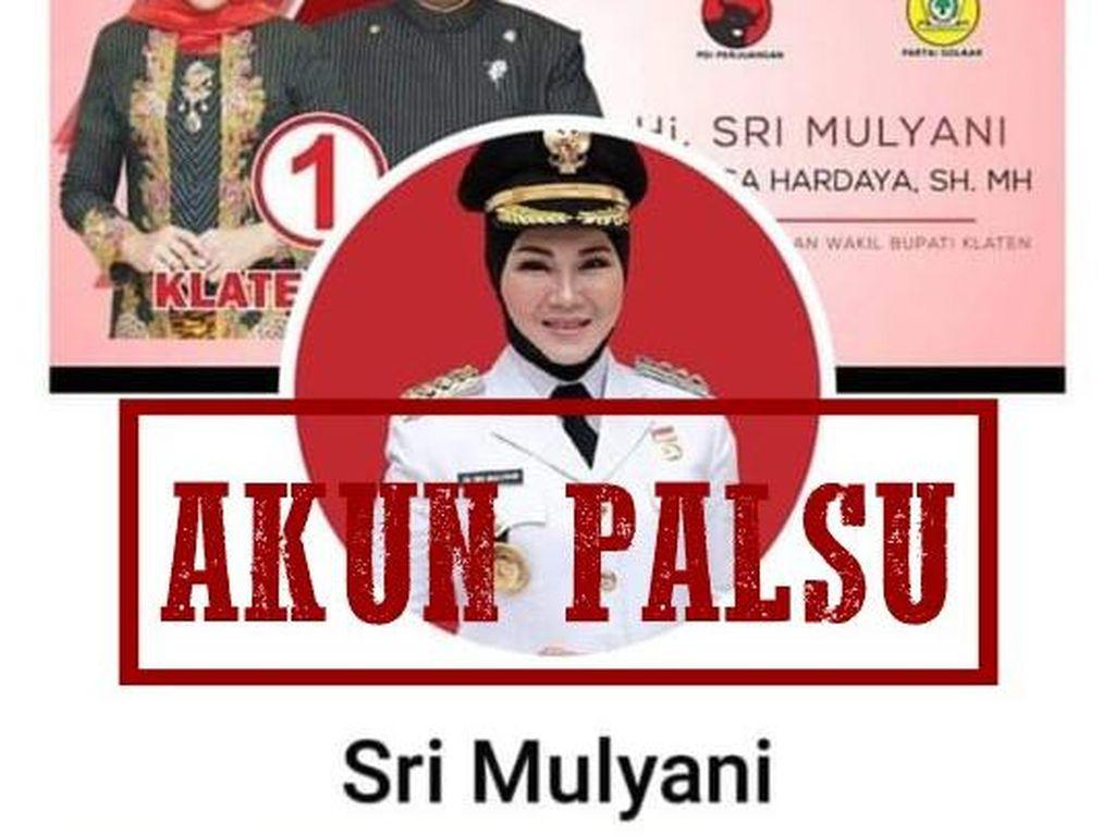 Ada Akun Facebook Catut Bupati Sri Mulyani, Pemkab Klaten: Palsu!