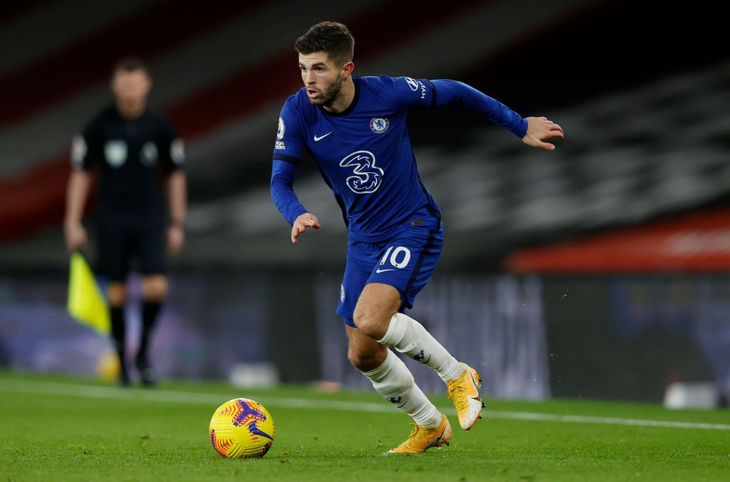 LONDON, ENGLAND - DECEMBER 28: Christian Pulisic of Chelsea in action during the Premier League match between Chelsea and Aston Villa at Stamford Bridge on December 28, 2020 in London, England. (Photo by Richard Heathcote/Getty Images)
