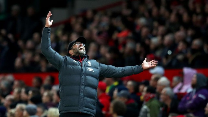 MANCHESTER, ENGLAND - OCTOBER 20: Jurgen Klopp manager of Liverpool reacts during the Premier League match between Manchester United and Liverpool FC at Old Trafford on October 20, 2019 in Manchester, United Kingdom. (Photo by Catherine Ivill/Getty Images)