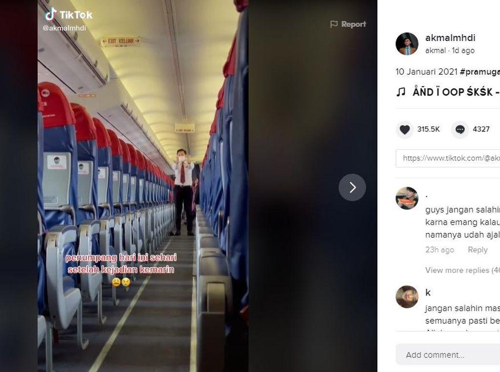 Viral! Video Kondisi Pesawat yang Sepi Setelah Tragedi SJ-182