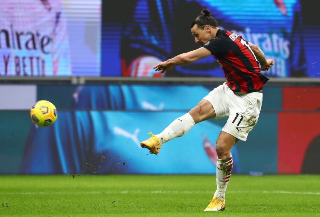 MILAN, ITALY - JANUARY 12: Zlatan Ibrahimovic of A.C. Milan shoots during the Coppa Italia match between AC Milan and Torino FC at Stadio Giuseppe Meazza on January 12, 2021 in Milan, Italy. Sporting stadiums around Italy remain under strict restrictions due to the Coronavirus Pandemic as Government social distancing laws prohibit fans inside venues resulting in games being played behind closed doors. (Photo by Marco Luzzani/Getty Images)