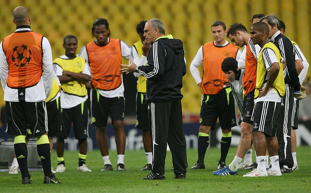 MOSCOW - MAY 20:  Chelsea manager, Avram Grant speaks with this players during the Chelsea training session ahead of the Champions League Final at the Luzhniki Stadium on May 20, 2008 in Moscow, Russia. The Champions League Final will take place in Moscow on May 21, 2008.  (Photo by Christof Koepsel/Getty Images)