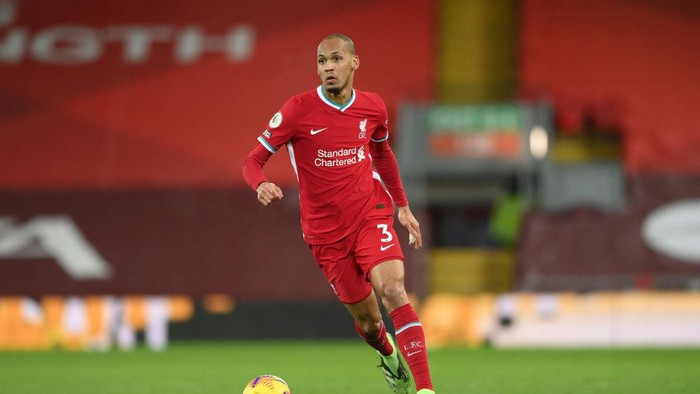 LIVERPOOL, ENGLAND - DECEMBER 27: Liverpool player Fabinho in action during the Premier League match between Liverpool and West Bromwich Albion at Anfield on December 27, 2020 in Liverpool, England. (Photo by Stu Forster/Getty Images)