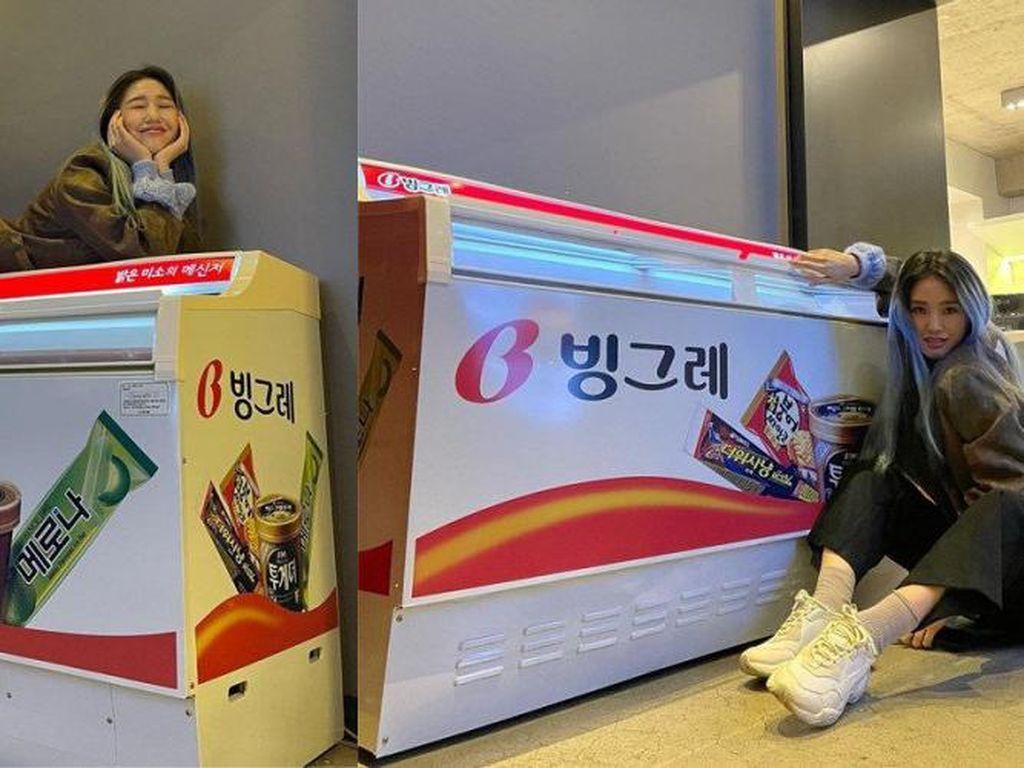 Mimi Oh My Girl Bahagia Dapat Kiriman Sekulkas Es Krim dari Binggrae