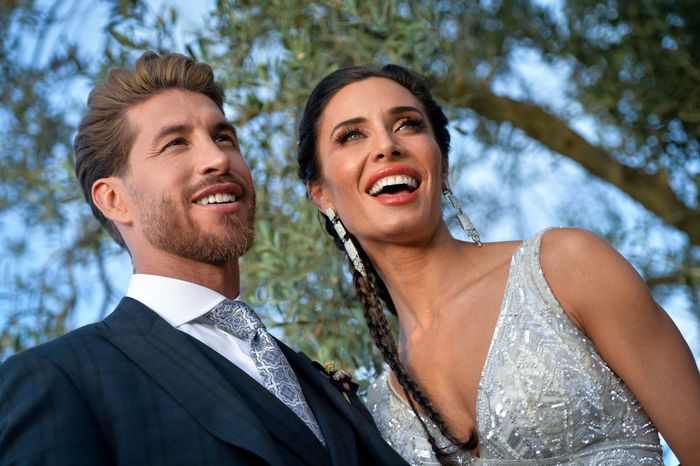 SEVILLE, SPAIN - JUNE 15: The bride Pilar Rubio and the groom Sergio Ramos pose before the wedding party  on June 15, 2019 in Seville, Spain. (Photo by Aitor Alcalde/Getty Images)