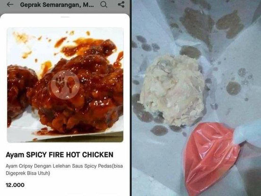 Ngenes! Pesan Ayam Goreng Pedas via Ojol, Tampilannya Jauh dari Ekspektasi