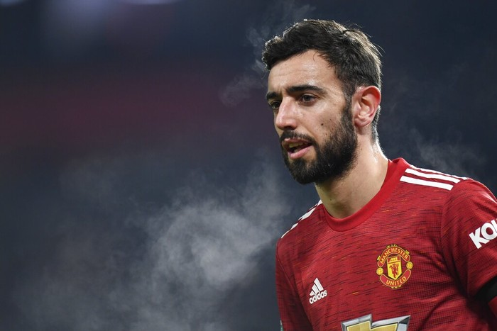 Manchester Uniteds Bruno Fernandes is seen during the English League Cup semifinal soccer match between Manchester United and Manchester City at Old Trafford in Manchester, England, Wednesday, Jan. 6, 2021. (Peter Powell/Pool via AP)