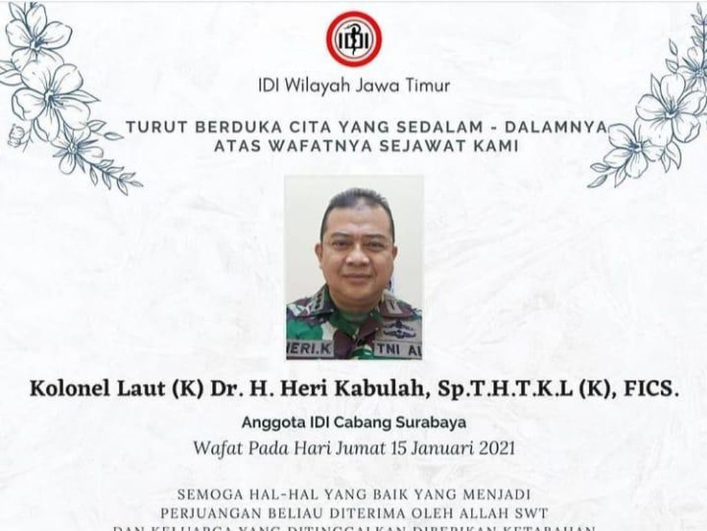 Dokter RSAL Surabaya Kolonel Heri Kabulah Meninggal Terpapar COVID-19