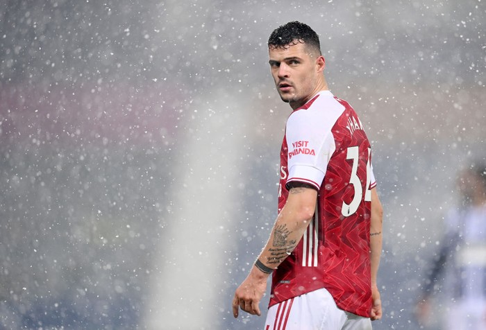 WEST BROMWICH, ENGLAND - JANUARY 02: Granit Xhaka of Arsenal looks on during the Premier League match between West Bromwich Albion and Arsenal at The Hawthorns on January 02, 2021 in West Bromwich, England. The match will be played without fans, behind closed doors as a Covid-19 precaution. (Photo by Michael Regan/Getty Images)