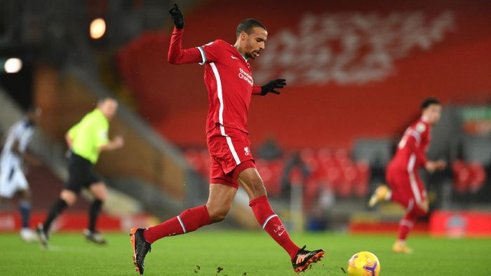 LIVERPOOL, ENGLAND - DECEMBER 27: Liverpool player Joel Matip in action during the Premier League match between Liverpool and West Bromwich Albion at Anfield on December 27, 2020 in Liverpool, England. (Photo by Stu Forster/Getty Images)