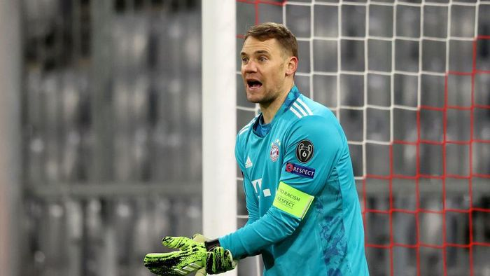 MUNICH, GERMANY - DECEMBER 09: Manuel Neuer of FC Bayern München reacts during the UEFA Champions League Group A stage match between FC Bayern Muenchen and Lokomotiv Moskva at Allianz Arena on December 09, 2020 in Munich, Germany. (Photo by Alexander Hassenstein/Getty Images)