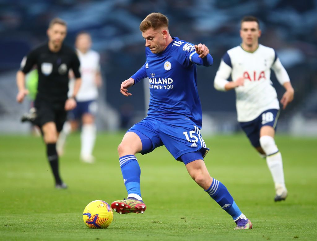 LEICESTER, ENGLAND - JANUARY 16: Harvey Barnes of Leicester City celebrates after scoring their team's second goal during the Premier League match between Leicester City and Southampton at The King Power Stadium on January 16, 2021 in Leicester, England. Sporting stadiums around England remain under strict restrictions due to the Coronavirus Pandemic as Government social distancing laws prohibit fans inside venues resulting in games being played behind closed doors. (Photo by Alex Pantling/Getty Images)