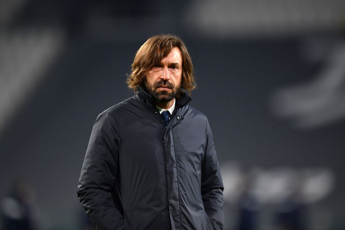 TURIN, ITALY - JANUARY 13: Andrea Pirlo, Head Coach of Juventus F.C. looks on prior to the Coppa Italia match between Juventus and Genoa CFC at Allianz Stadium on January 13, 2021 in Turin, Italy. Sporting stadiums around Italy remain under strict restrictions due to the Coronavirus Pandemic as Government social distancing laws prohibit fans inside venues resulting in games being played behind closed doors. (Photo by Valerio Pennicino/Getty Images)