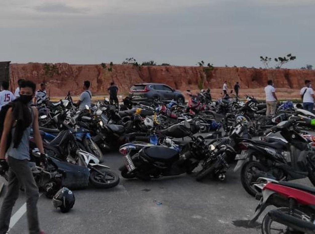 Dipakai untuk Balap Liar, 200 Kendaraan di Pekanbaru Ditilang Polisi