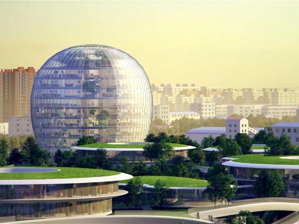 China Bangun Stasiun Kereta Futuristik Tapi Seperti Berada di Hutan