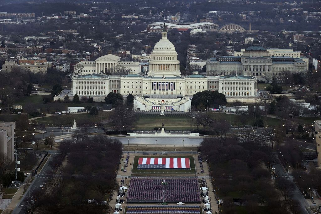 The U.S. Capitol building is prepared for the inauguration ceremonies for President-elect Joe Biden as the