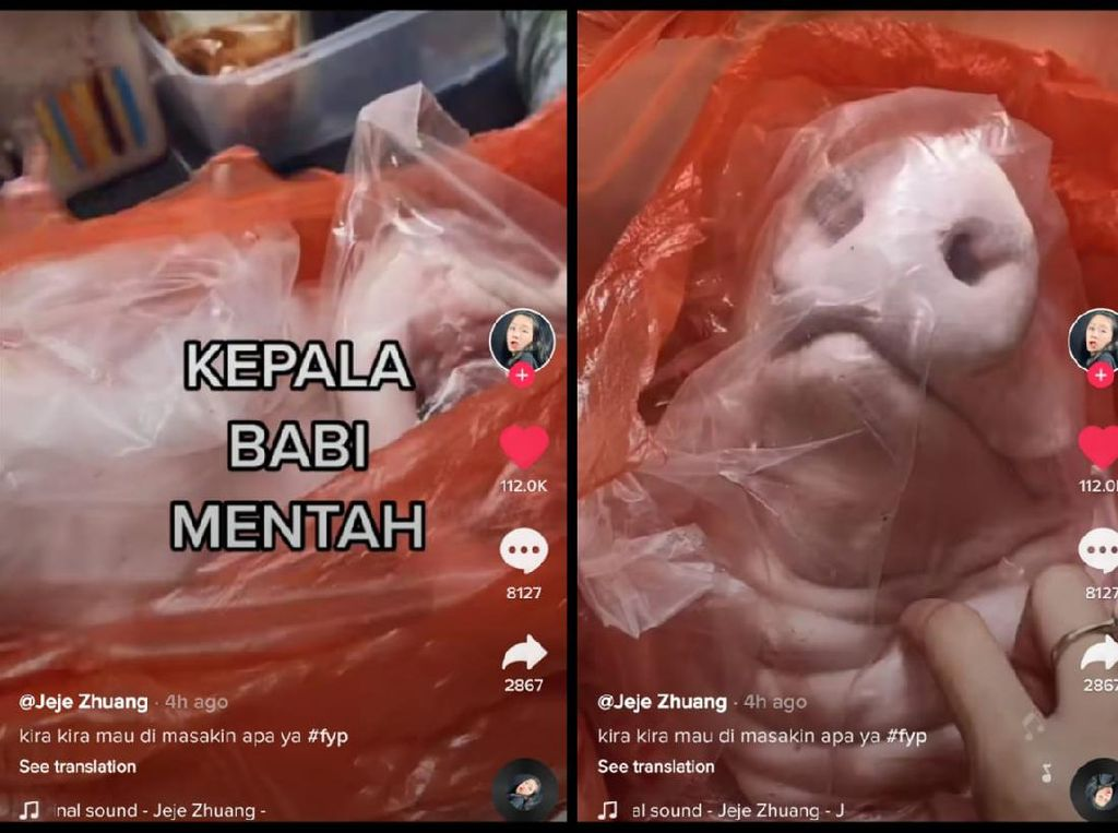 Wanita Ini Beli Kepala Babi, Netizen: Pantas Kepala Mantan Gue Ngilang!